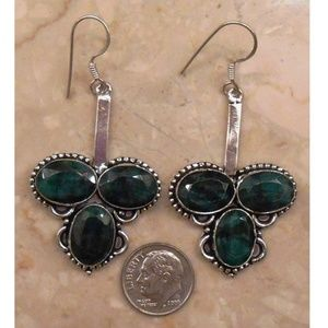 Jewelry - REAL EMERALD and sterling silver earrings SJ945-08